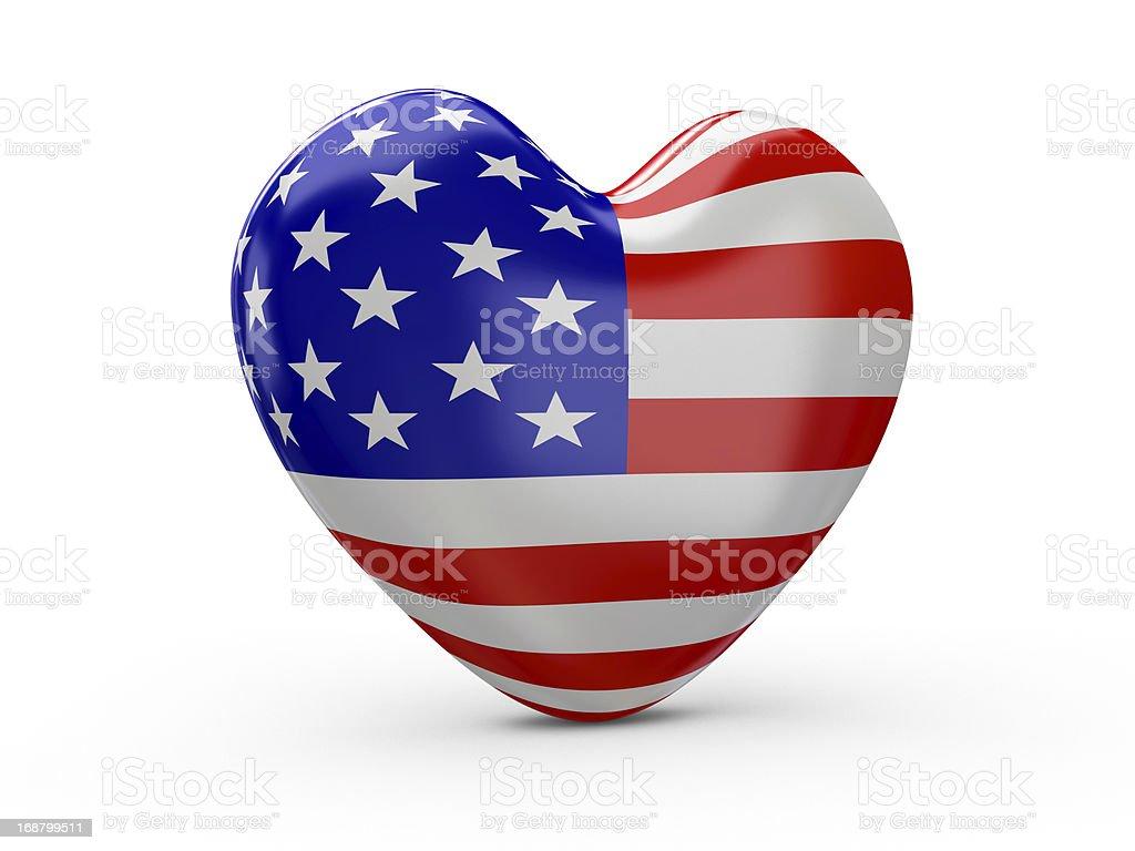 USA Flag Heart royalty-free stock photo