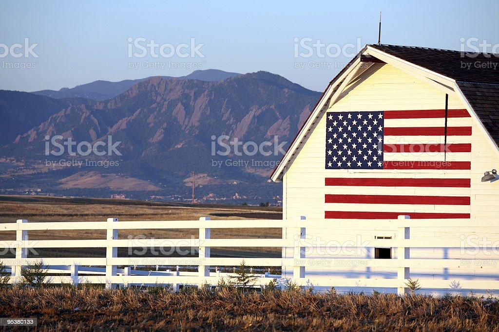 U.S. flag image on barn stock photo
