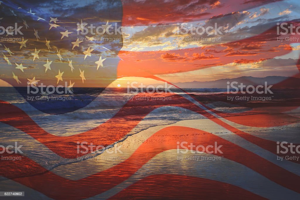 USA flag in a sunset stock photo