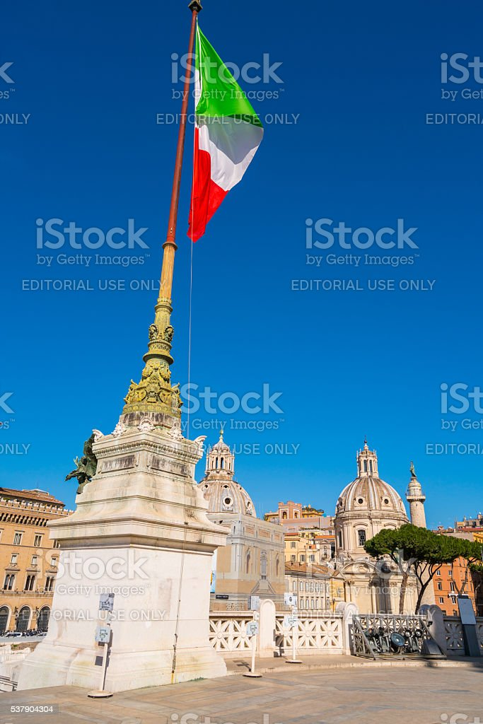 Flag in Altare della Patria in Rome, Italy stock photo