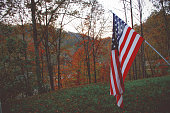 US Flag in Fall