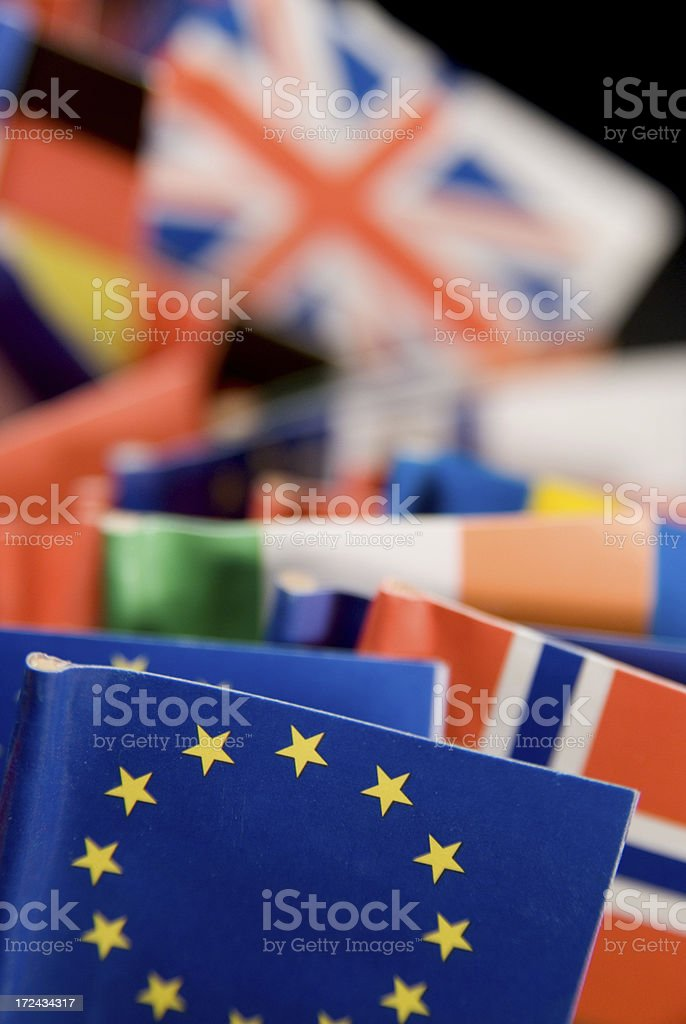 EU flag in front of the other world flags royalty-free stock photo