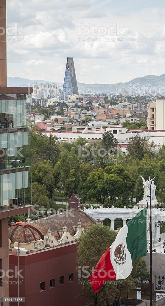 Flag in Mexico City stock photo