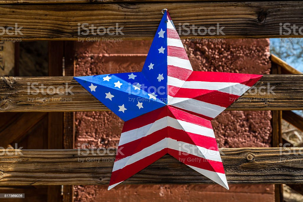 USA flag in star shape stock photo