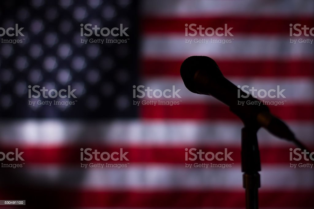 USA flag in the darkness. stock photo
