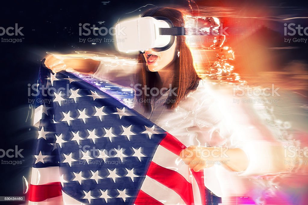US flag in virtual world stock photo