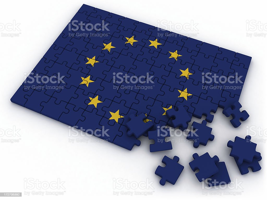 EU flag jigsaw royalty-free stock photo