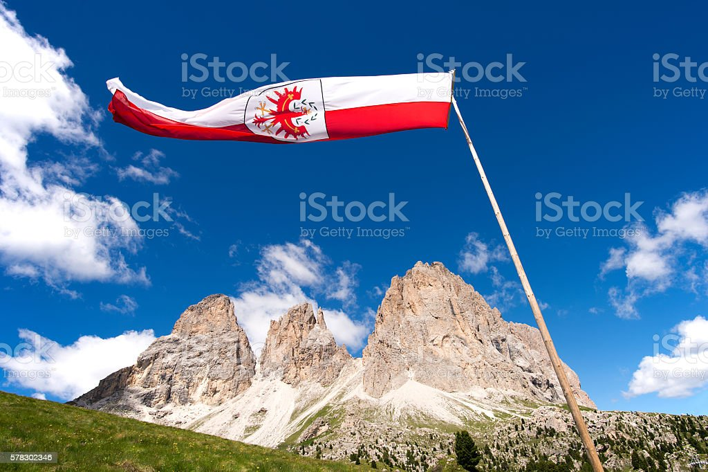 Flag Ladin views of the Sella Group in the Italian Dolomites stock photo