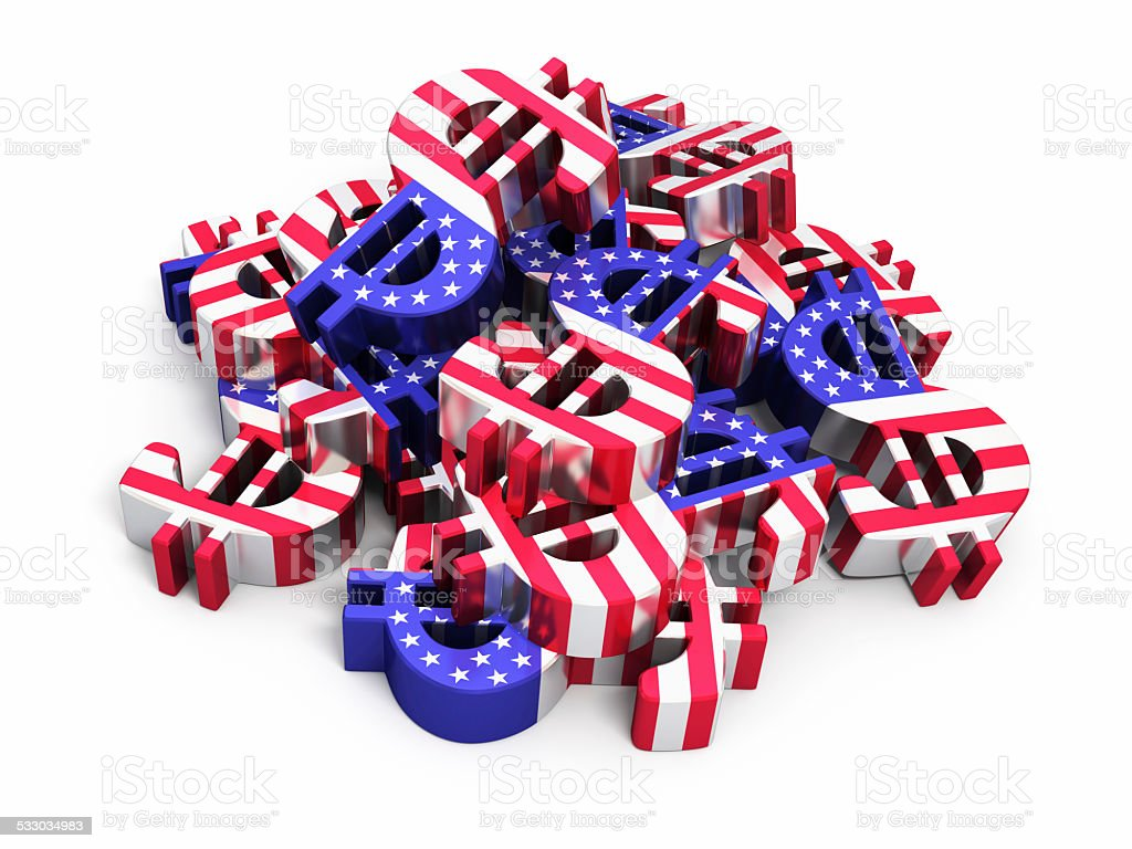 USA Flag looking Dollar Signs stock photo