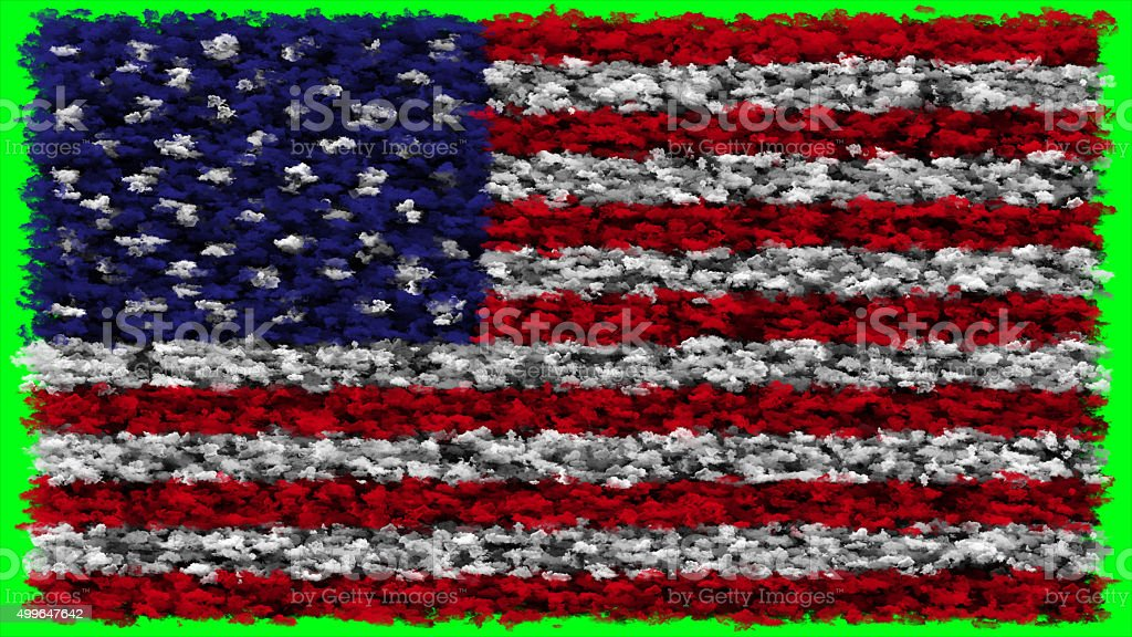 USA flag made from clouds stock photo