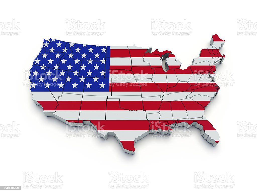 USA flag map. 3d royalty-free stock photo