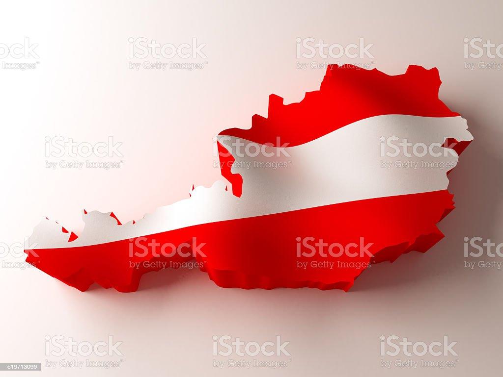 Flag map of Austria stock photo
