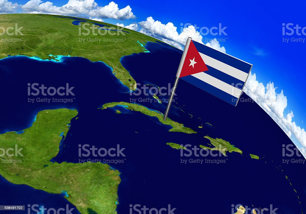 Flag marker over country of Cuba on world map stock photo