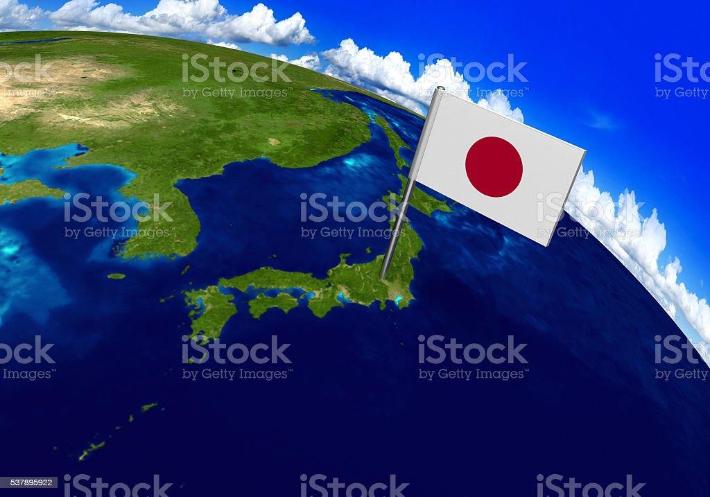 Flag marker over country of Japan on globe map stock photo