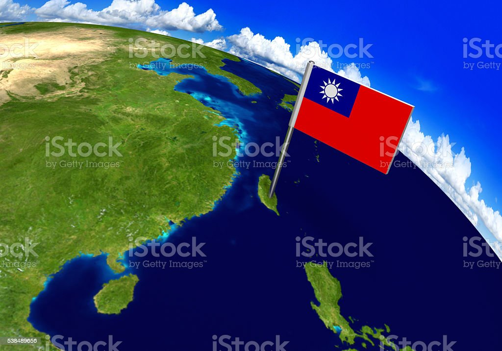 Flag marker over country of Taiwan on world map stock photo