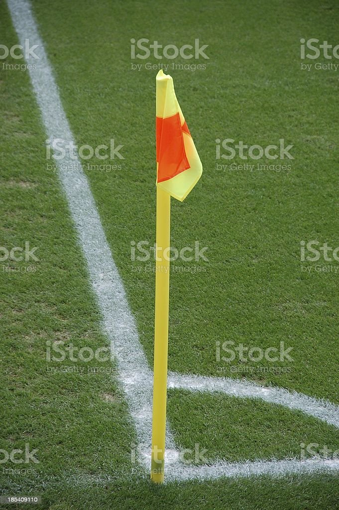 Flag marking the corner of a soccer field stock photo