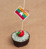 Flag of a Myanmar on cupcake