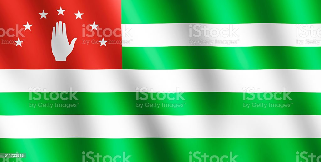 Flag of Abkhazia waving in the wind stock photo