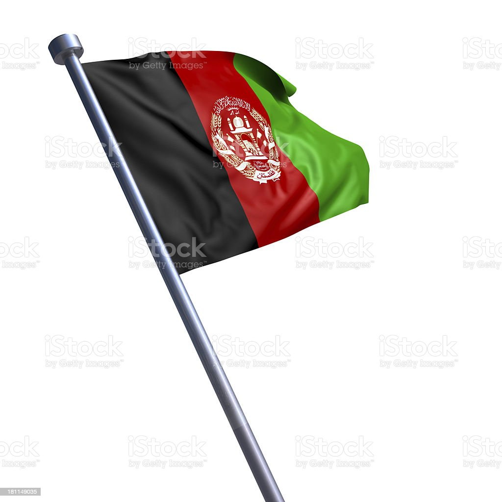 Flag of Afghanistan isolated on white royalty-free stock photo