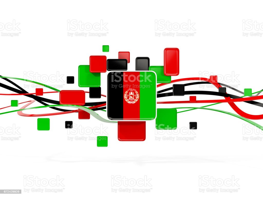 Flag of afghanistan, mosaic background with lines stock photo