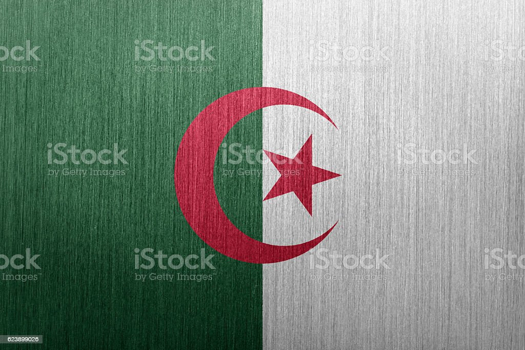 Flag of Algeria on a brushed metal background stock photo