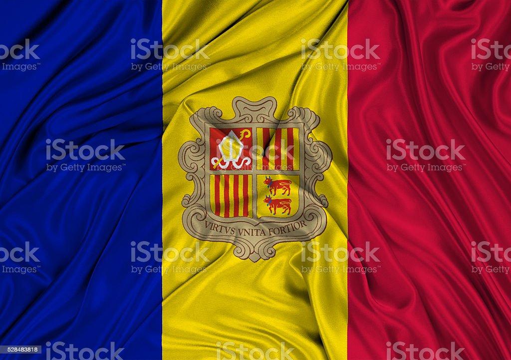 Flag Of Andorra 3d, silk textured stock photo