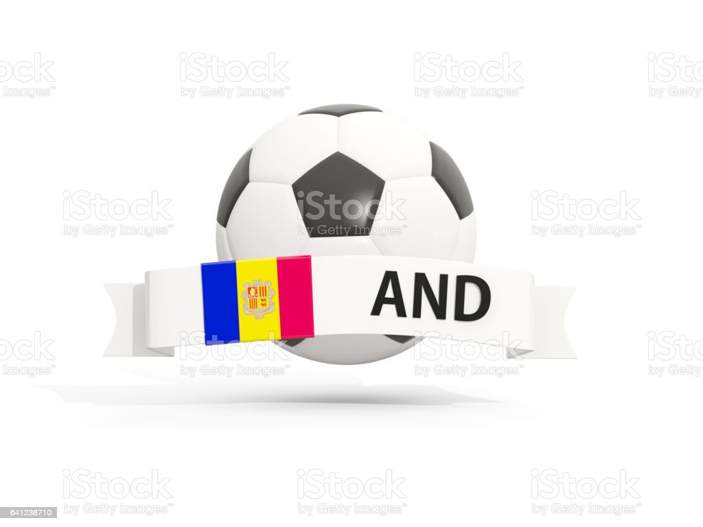Flag of andorra, football with banner and country code stock photo
