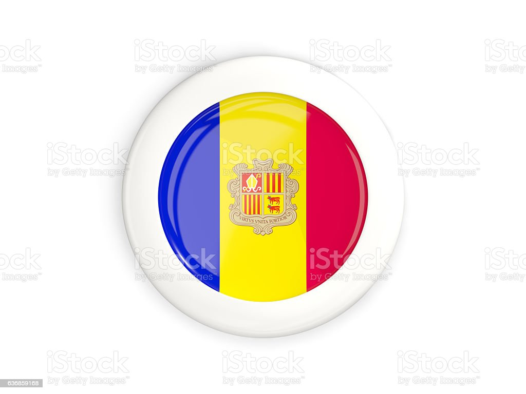 Flag of andorra, glossy round button stock photo