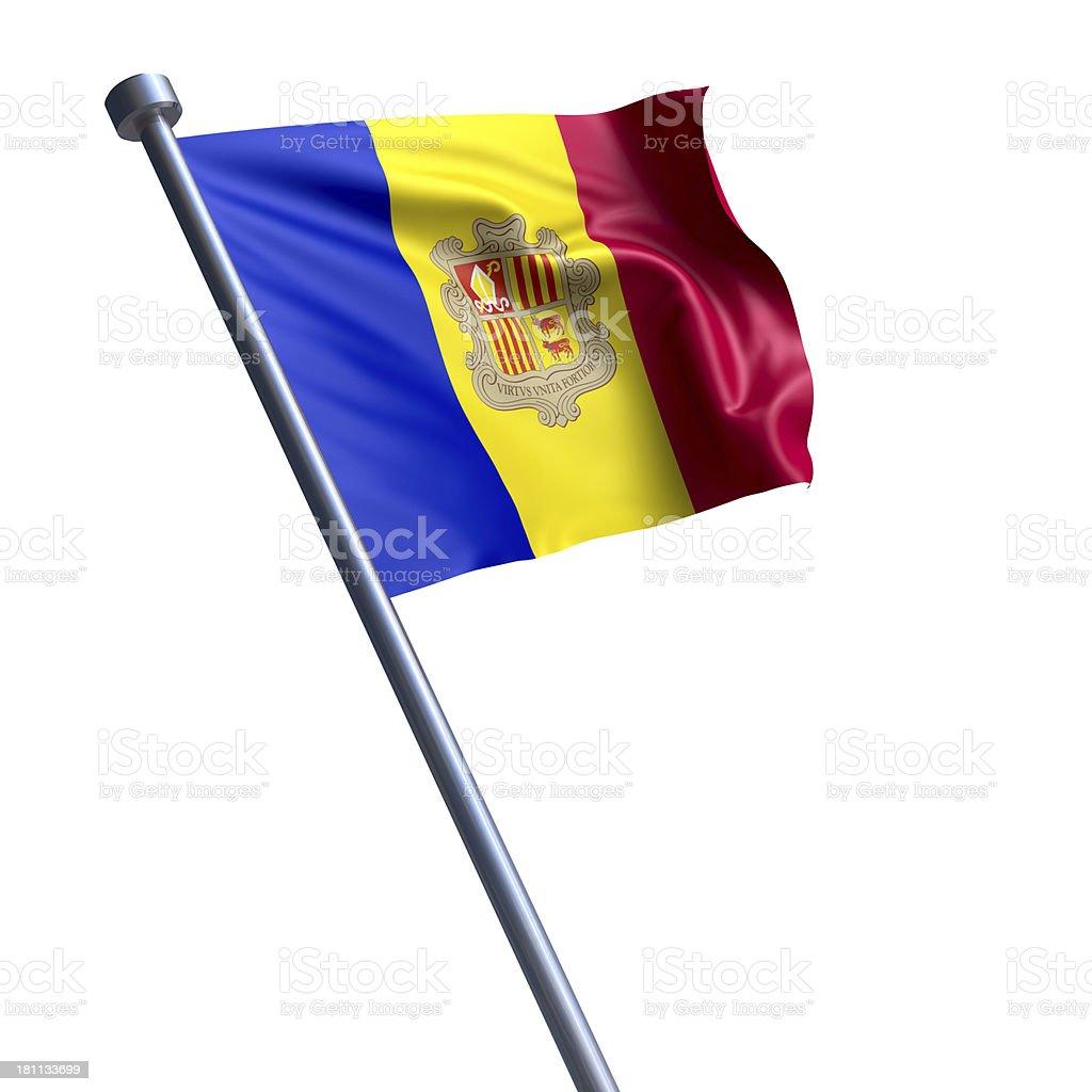 Flag of Andorra isolated on white stock photo