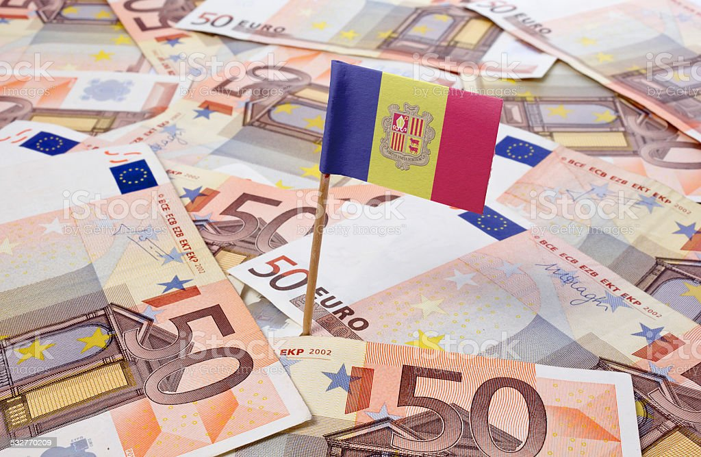 Flag of Andorra sticking in 50 Euro banknotes.(series) stock photo