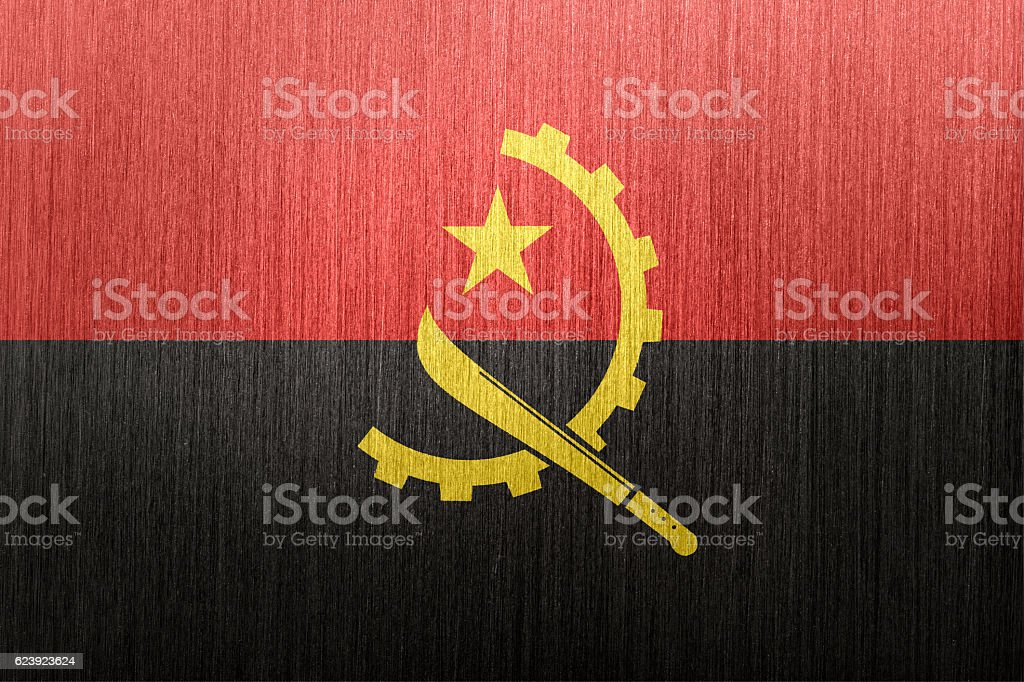 Flag of Angola on a brushed metal background stock photo