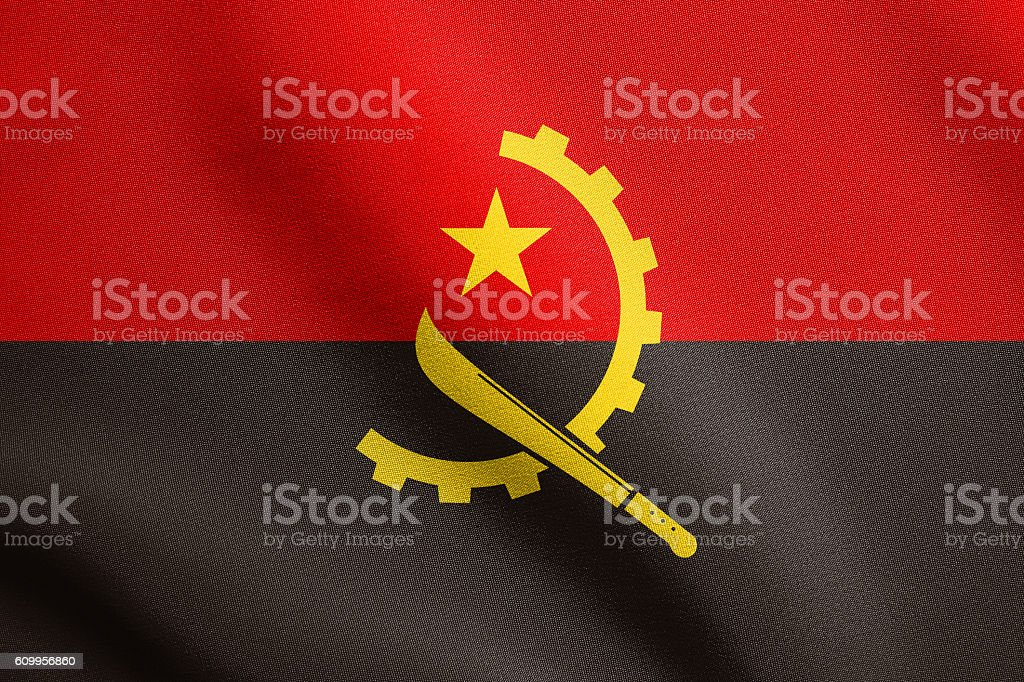 Flag of Angola waving with fabric texture stock photo