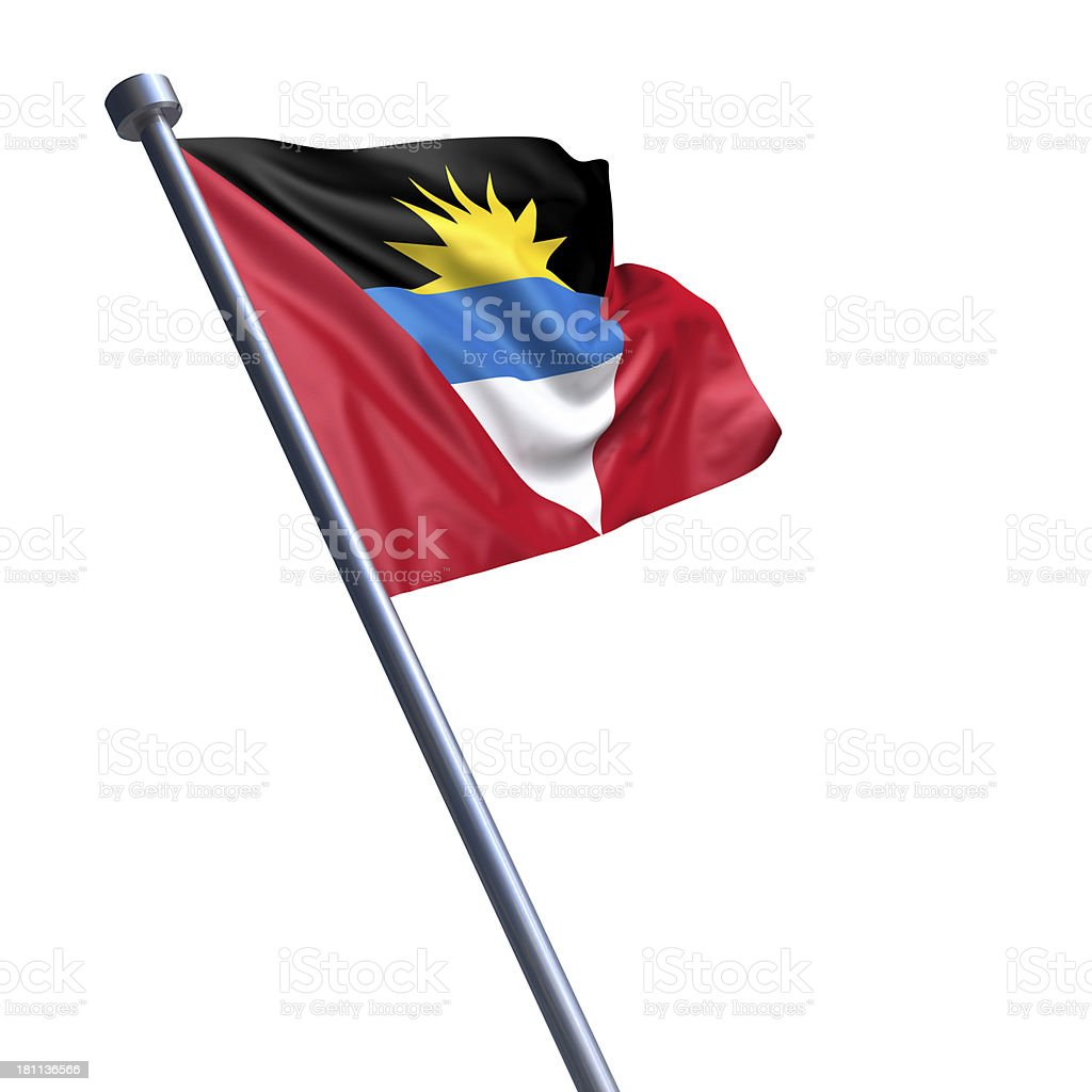 Flag of Antigua and Barbuda isolated on white stock photo