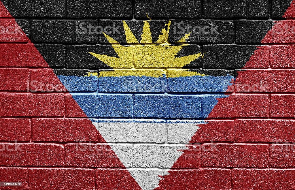 Flag of Antigua and Barbuda on brick wall stock photo