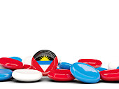 Flag of antigua and barbuda, round buttons