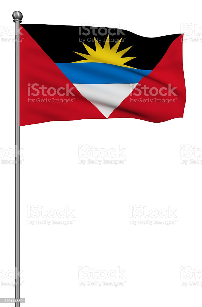 Flag of Antigua and Barbuda with flagpole against white background. stock photo