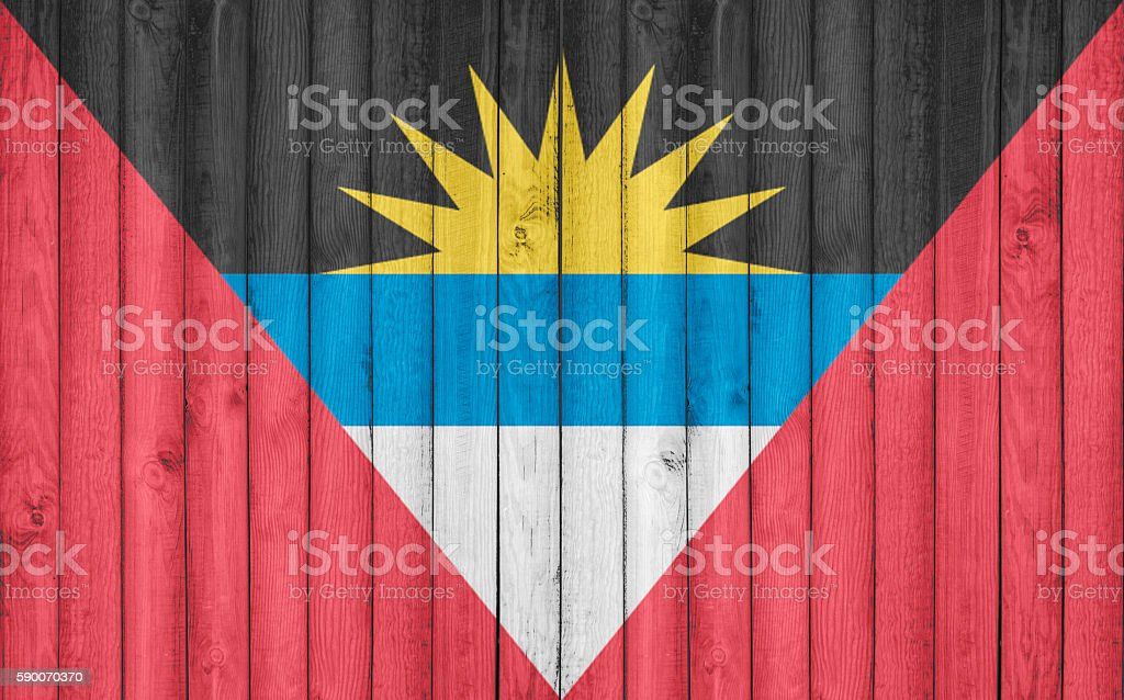 Flag of Antigua Barbuda painted on wooden frame stock photo