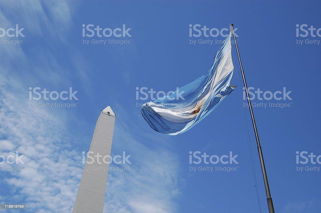 Flag of Argentina and Obelisk stock photo