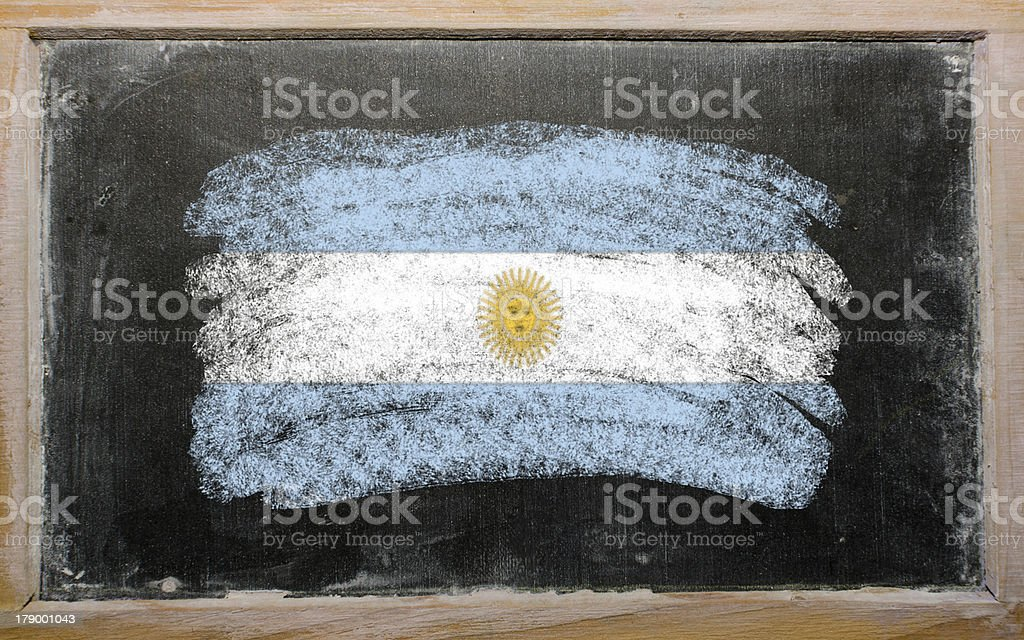 flag of Argentina on blackboard painted with chalk stock photo