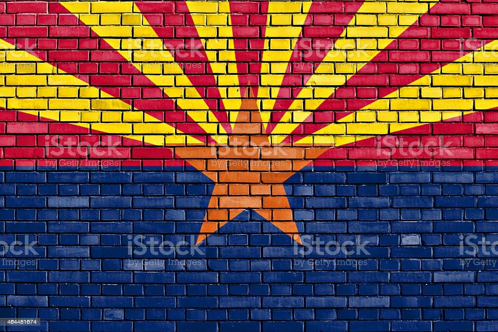 flag of Arizona painted on brick wall stock photo