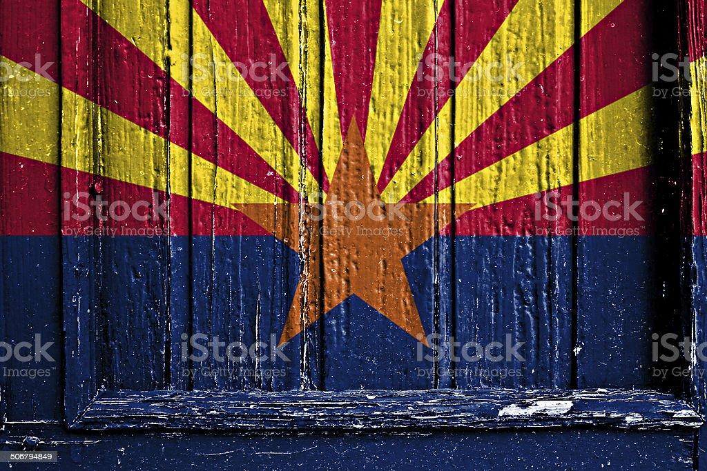 flag of Arizona painted on wooden frame stock photo