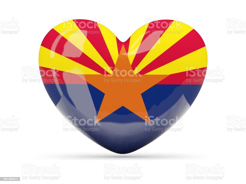 Flag of arizona, US state heart icon stock photo
