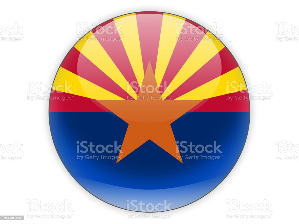 Flag of arizona, US state icon stock photo