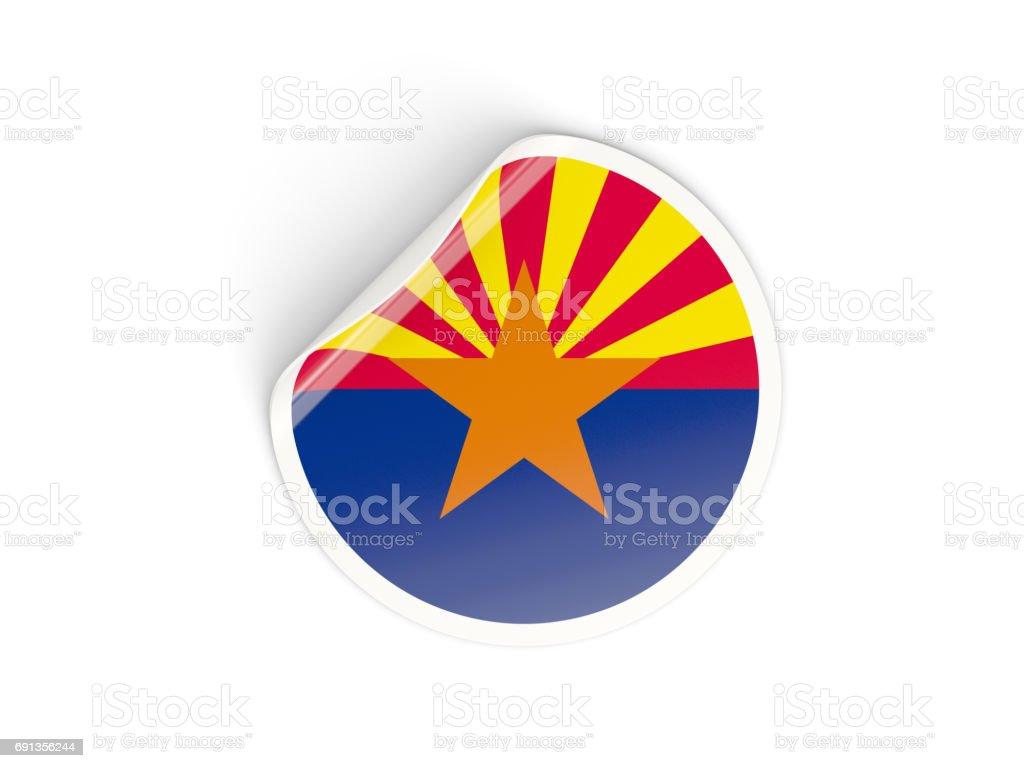 Flag of arizona, US state round sticker stock photo