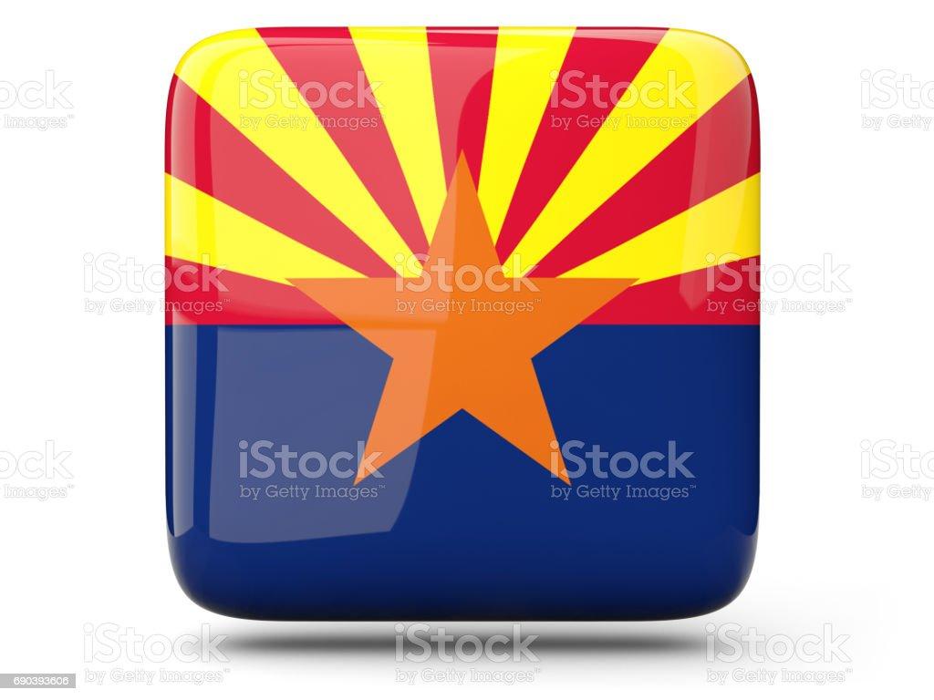 Flag of arizona, US state square icon stock photo