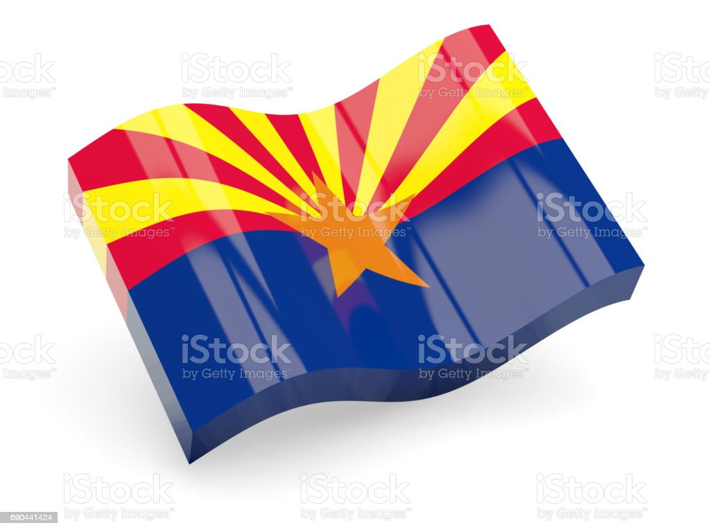 Flag of arizona, US state wave icon stock photo