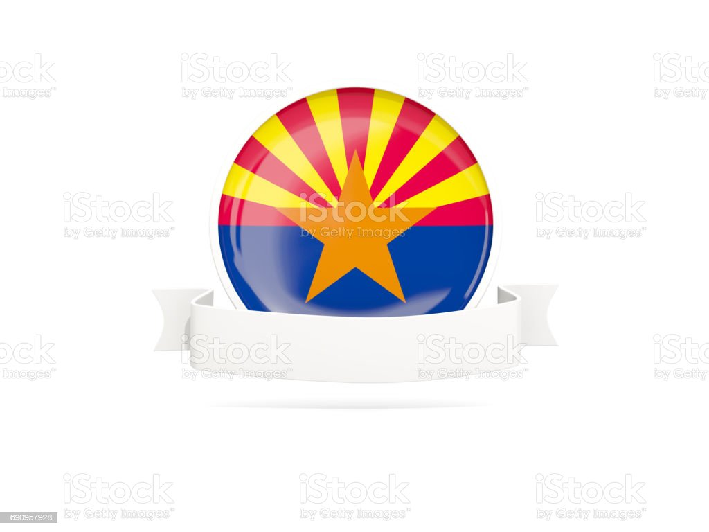 Flag of arizona with banner, US state round icon stock photo