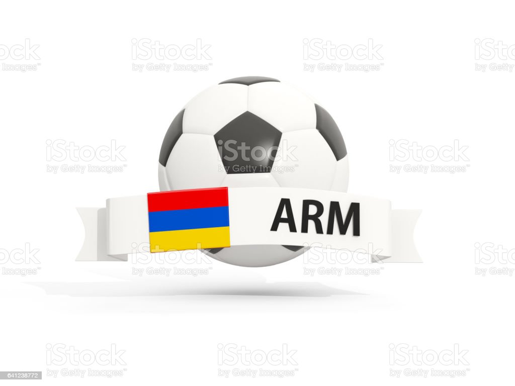 Flag of armenia, football with banner and country code stock photo
