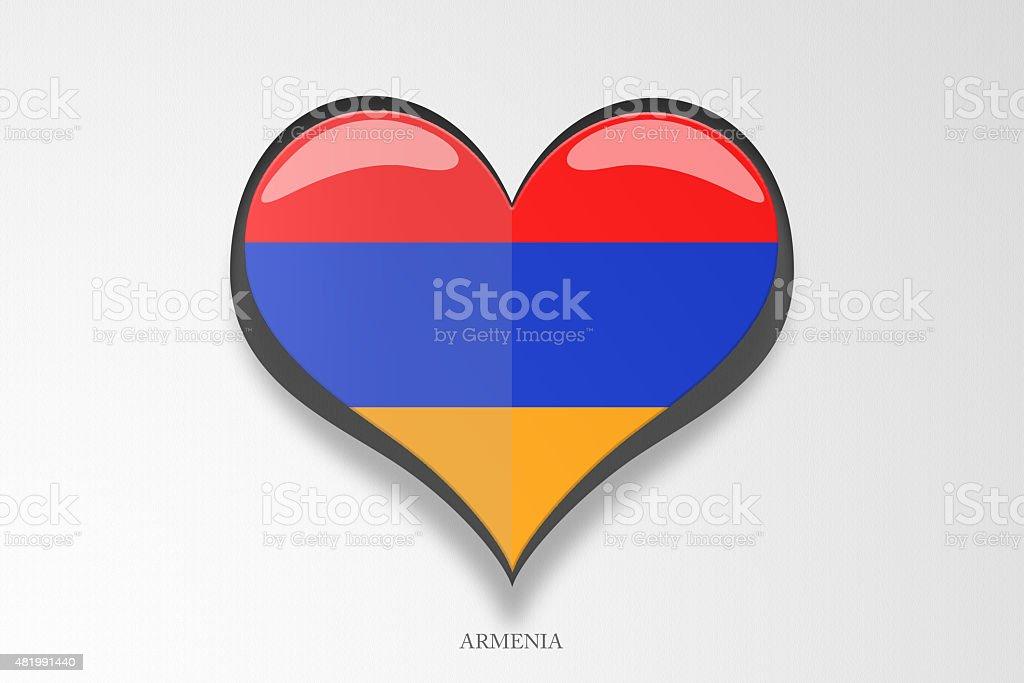 Flag of Armenia in a lovely Heart Shape stock photo