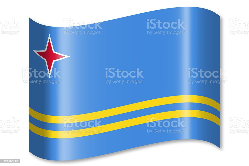 Flag of Aruba vector art illustration